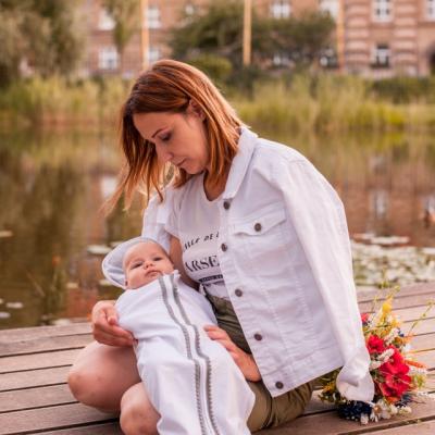 Detská zavinovačka Mimi biela s brmbolčekom