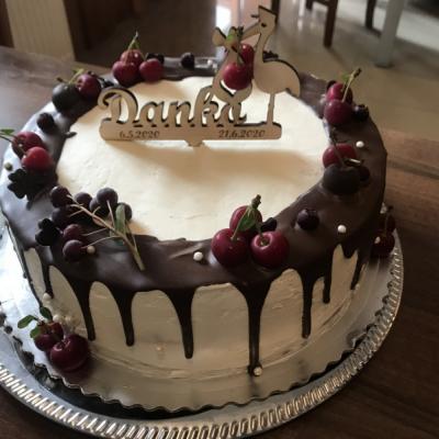 Zápich na tortu - bocian - krst