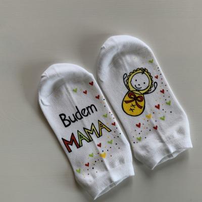 """Maľované ponožky s nápisom: """"Budem MAMA"""""""