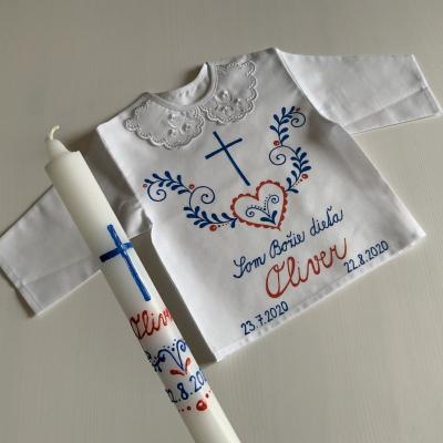 Ručne maľovaná KRSTná košieľka a svieca 8