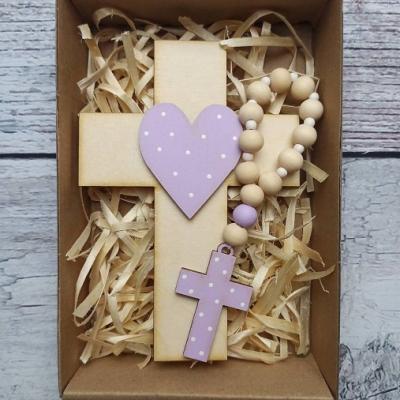 Set krížik a ruženec - svetlá fialová