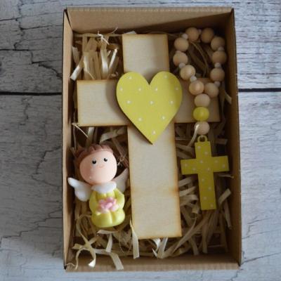 Set krížik a ruženec - žltá