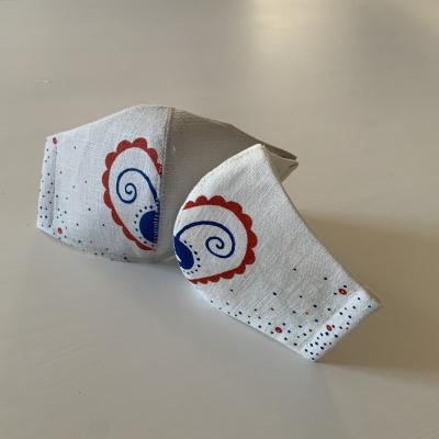 Maľované SMOTANOVOBIELE ľanové rúška (3-vrstvové) - sada pre pár