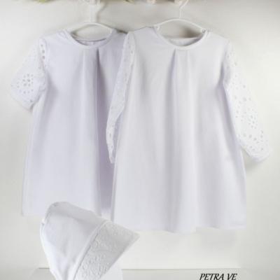 Biele šaty s MADEIROU, dlhý rukáv