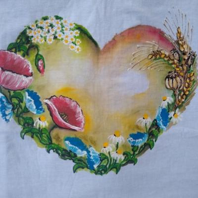 Maľované tričko so sdiečkom