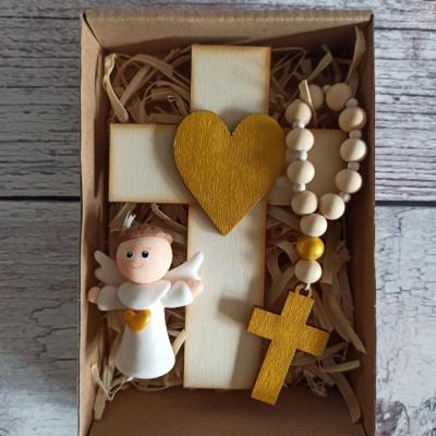 Set krížik a ruženec - zlatá