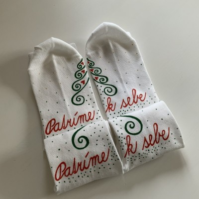 """Sada vianočných maľovaných ponožiek s nápisom """"Patríme k sebe"""""""