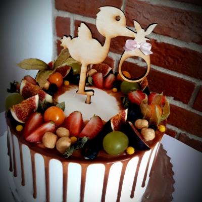 Zápich na tortu - bocián