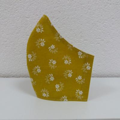 Bavlnené rúško Kvietky - horčicová