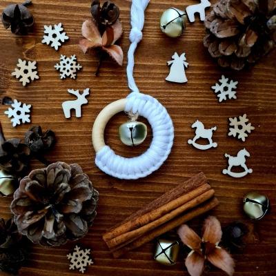 Vianočné ozdoby - drevený krúžok s rolničkou (veľký)