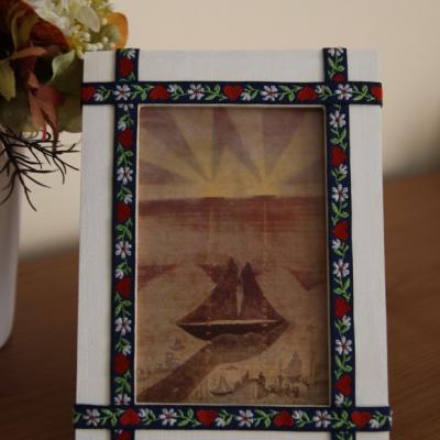 Folkový rámik na fotku - na bielom - 10x15