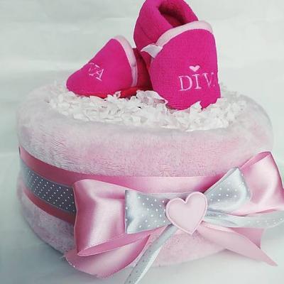 Plienková torta ružová papučky