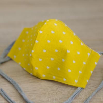 Rúško dámske žlté - srdiečka
