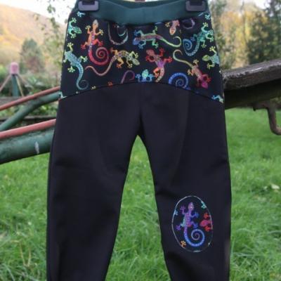 Softshellové nohavice - jašteričky / na objednávku