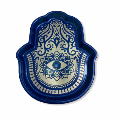 Ruka Fatimy v modrej farbe