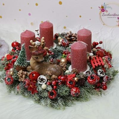 Kolekcia 'Detské Vianoce' adventný veniec so srnčekom cca 30cm