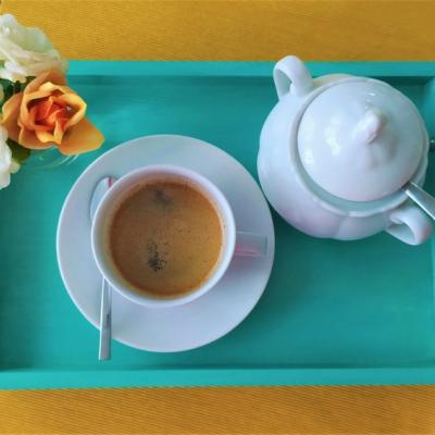 Podnos na kávu - modrý