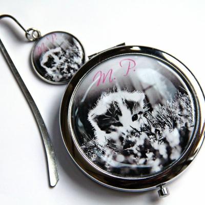 zrkadielko + záložka Mačička - text na želanie