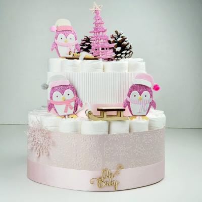 Plienková torta-zimná-pink