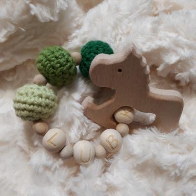 Drevené hryzátko s menom - zelené