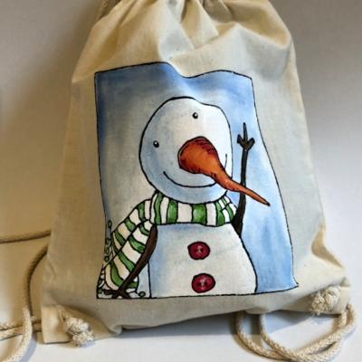 Maľovaný vak - snehuliak