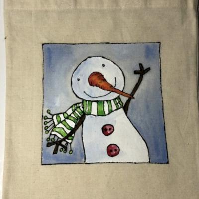 Maľovaná taštička - snehuliak