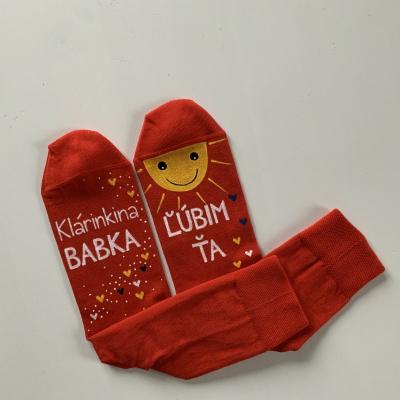 Maľované červené  ponožky s nápisom: