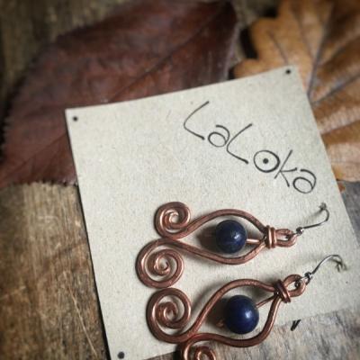 Medené náušnice špirálky s Lapisom Lazuli