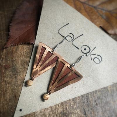 Náušnice Trojuholníky Meď & Koža