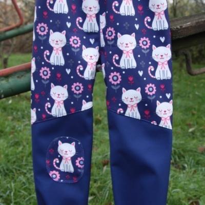 Softshellové nohavice - mačičky / na objednávku už len veľkosť 74