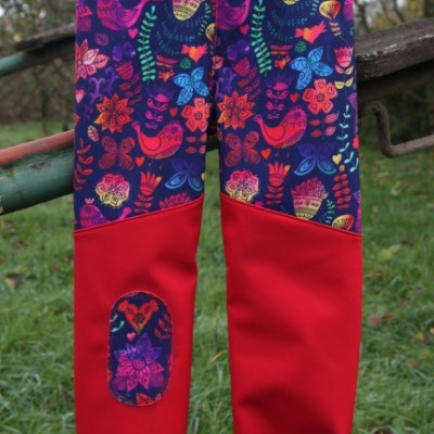 Softshellové nohavice - folk vtáčiky / veľkosť: 104/110