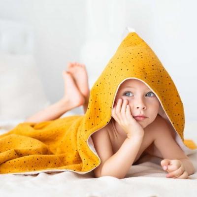 Osuška s kapucňou a rukavica na umývanie- okrový set na šitie