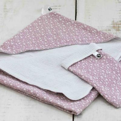Osuška s kapucňou a rukavica na umývanie - ružový set