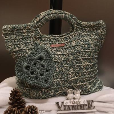 Háčkovaná kabelka do ruky Zelená