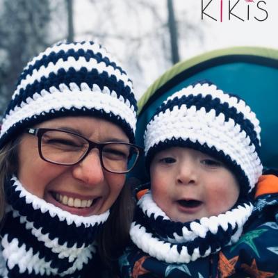 Set  👩👦 Mama a jej Dieťatko 👩👧 čiapka a nákrčník  - ZebyZebra