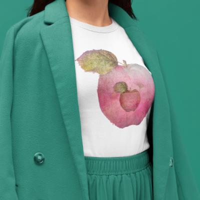 Ilustrácia na tričku, dizajnová potlač jablková.
