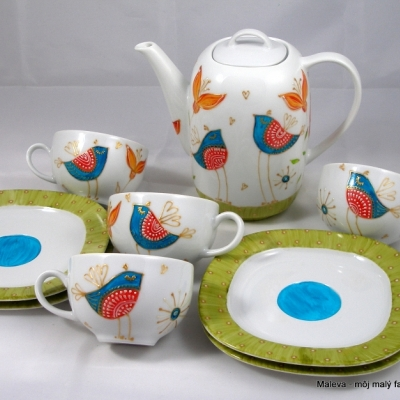 kávová/čajová súprava Vtáčia zelená a tyrkysová