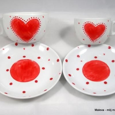 porcelánové šálky Malá s veľkou - Srdiečko