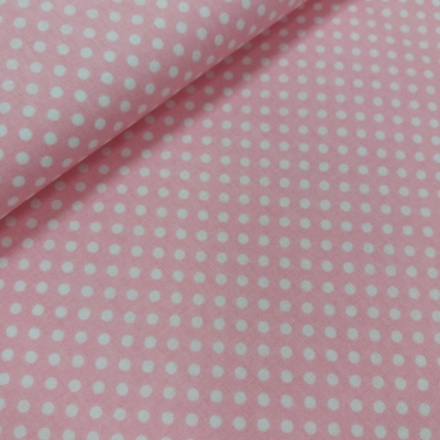 Ružová bavlnená látka - bodka 3 mm