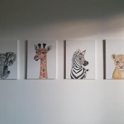 Mláďatká zo safari - ručne maľované