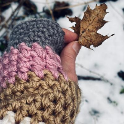 Zimná čiapka a bezprstačky, set  - Gombička