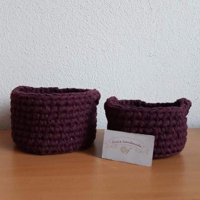 Háčkované košíčky - Bordový set