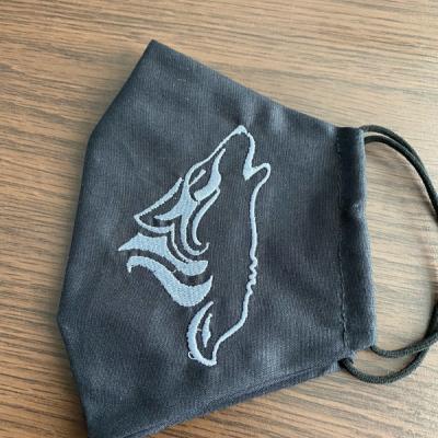 Vyšívané rúško Vlk čierne