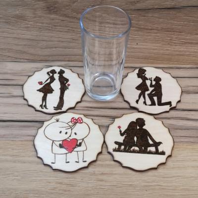 valentínske podložky pod poháre
