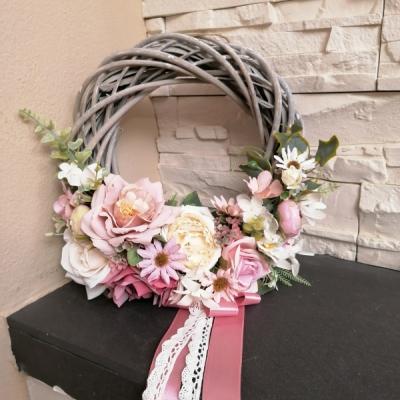 Vintage veniec ružový 27cm