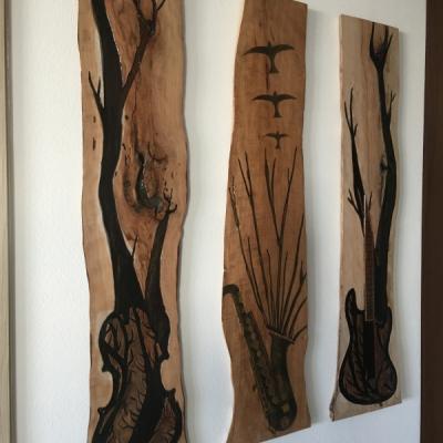 Handmade art wood and epoxy