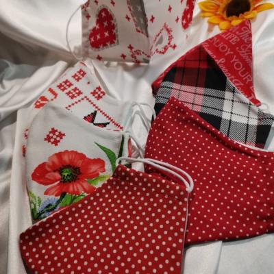 Dvojvrstvové rúška z bavlny na gumičku... Červená vášeň