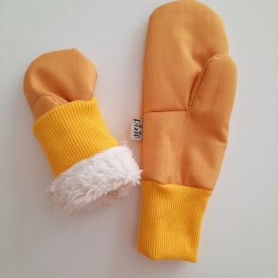 Softschellové rukavice zateplené žlté
