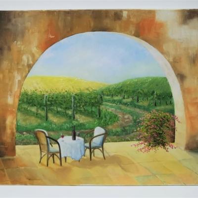 Vinohrad - olejomaľba 50x60