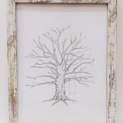 Svadobný strom v Provence ráme na odtlačky, kniha hostí